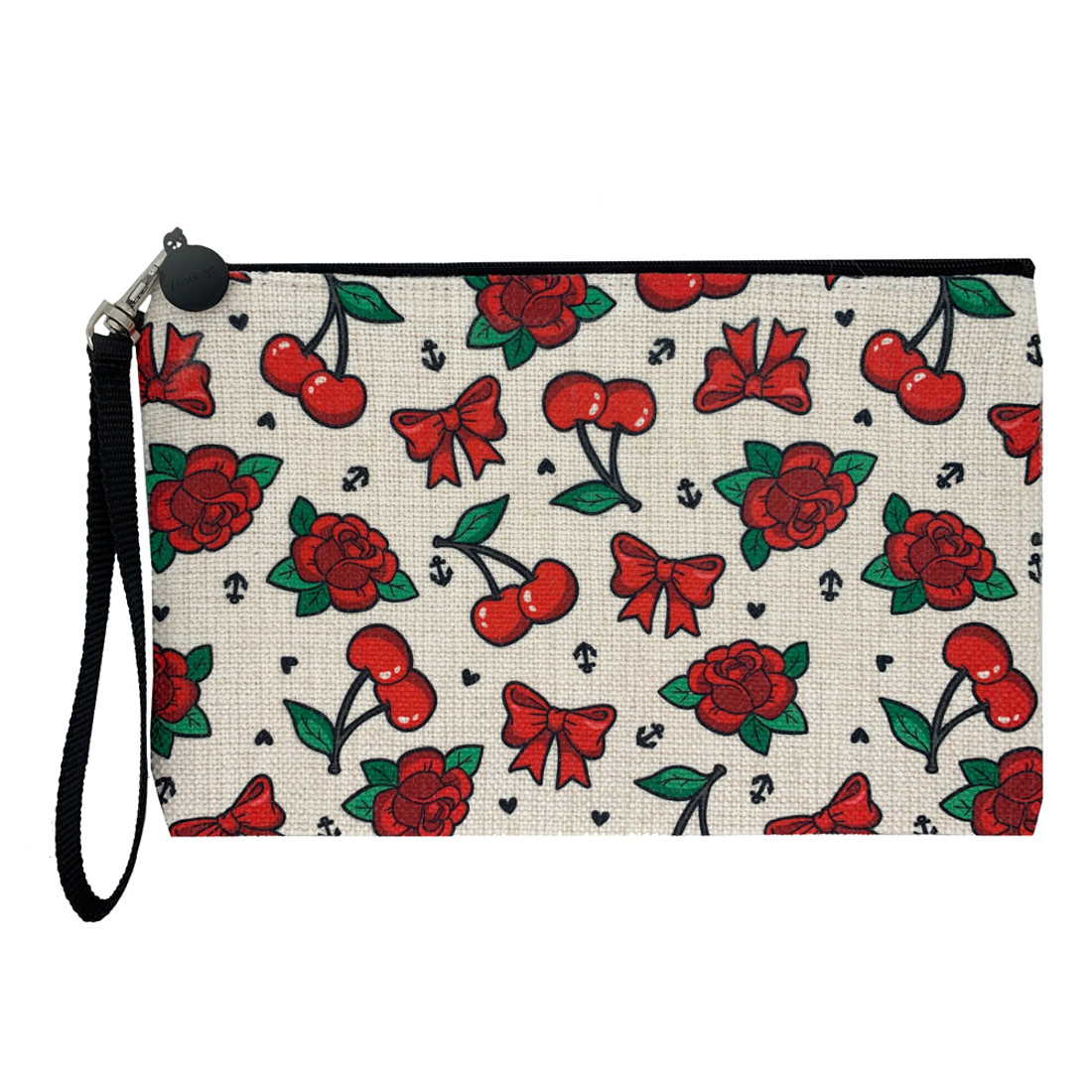 Cherries Bows and Red Roses Linen Makeup Bag