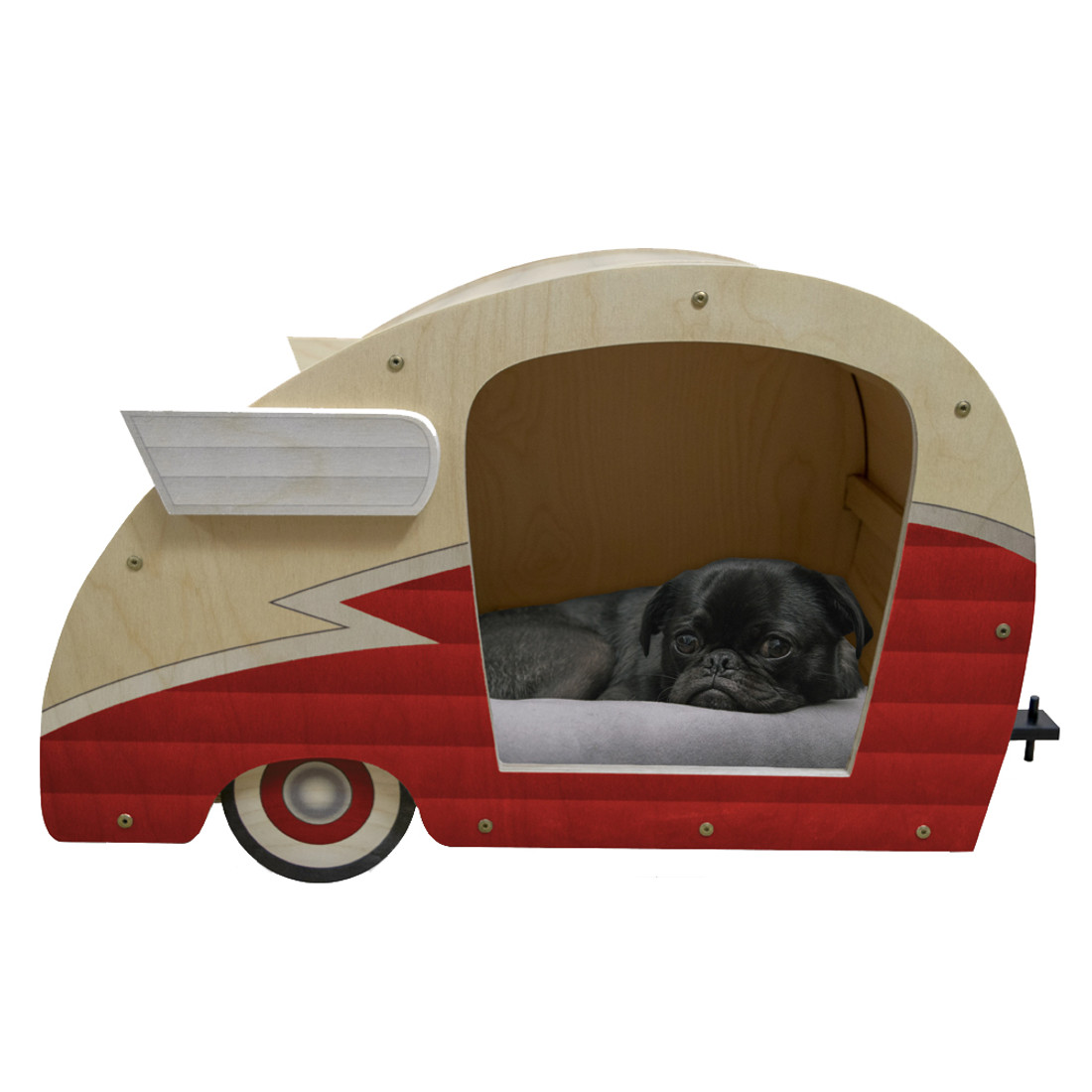 Wood Retro Shasta Trailer Pet Bed Matador Red