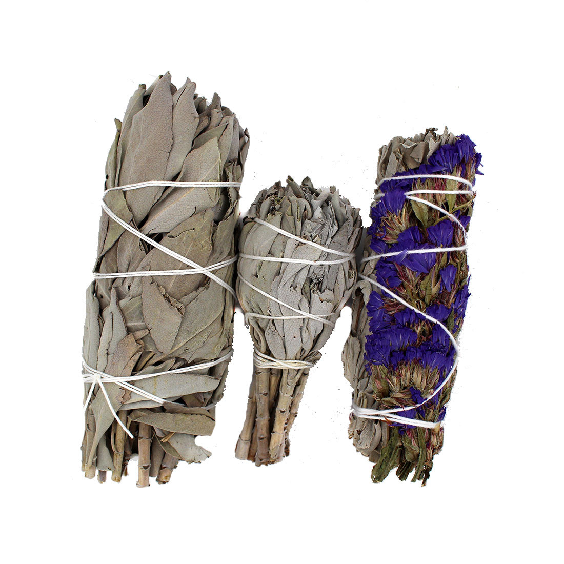 3-pack California hand wrapped sage wants for smudging, meditation, purifying your aura and cleansing your space.