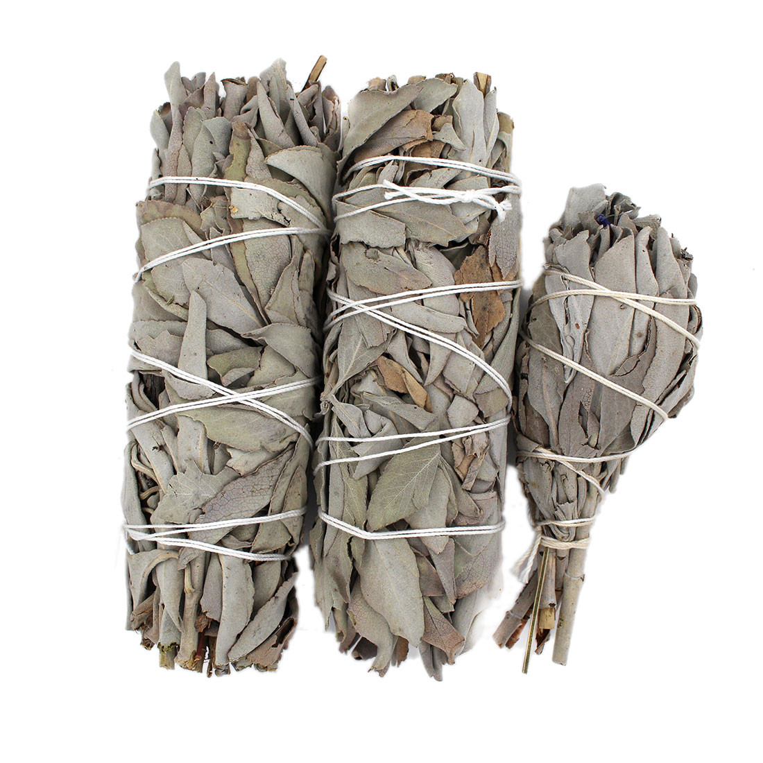 """3 pack of California 5"""" sage wands with one 3"""" mini sage wand with lavender."""