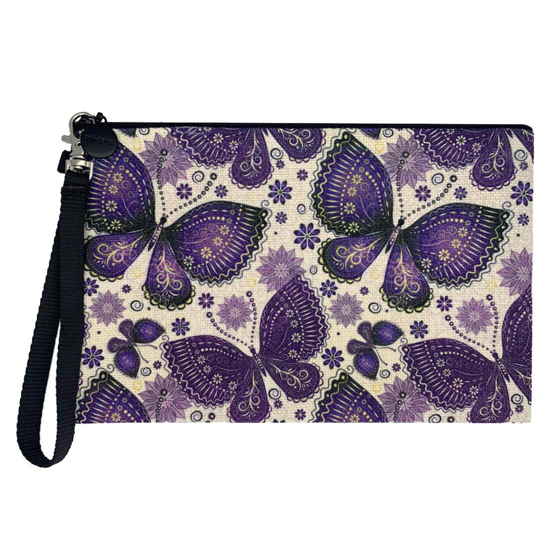 Purple Boho Butterfly Linen Cosmetic Bag