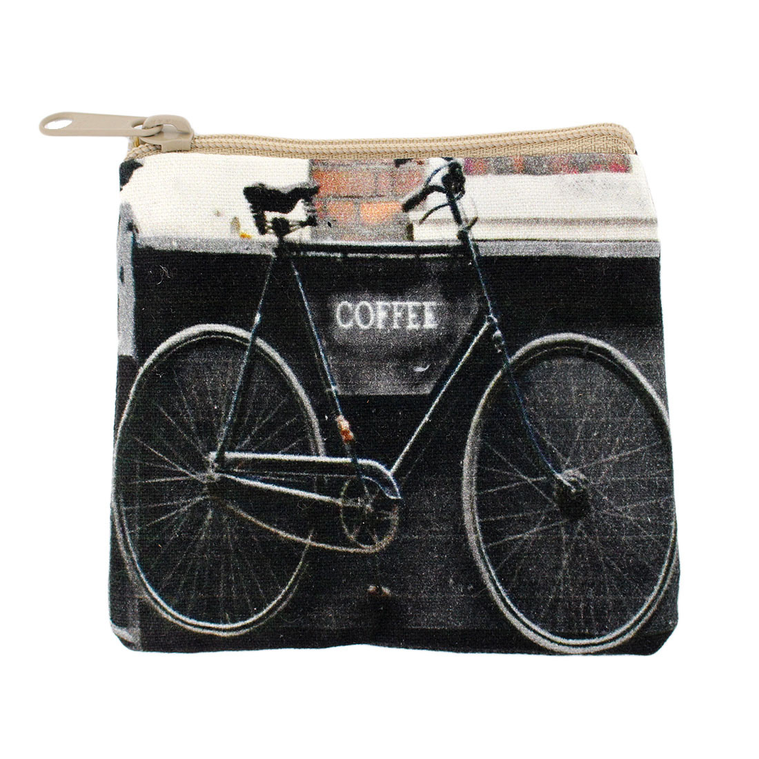 Vintage bicycle coffee picture on small coin purse.