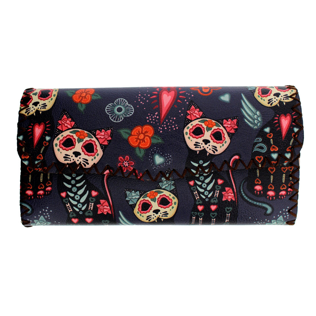 Colorful Day of the Dead Skull Cat Wallet