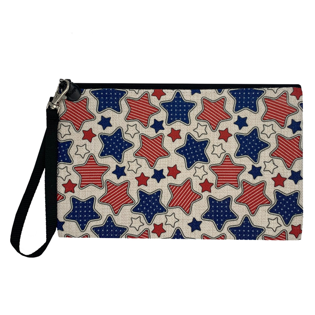 Stars and Stripes Linen Zippered Pouch
