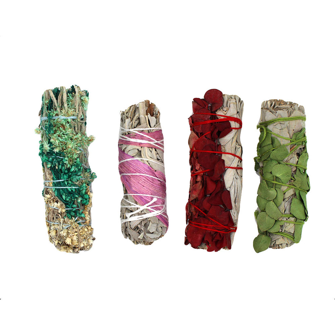 Four hand wrapped California sage wands.