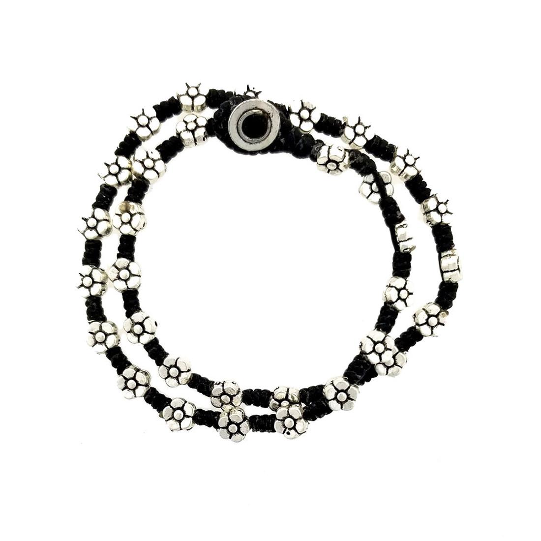 Flower alloy beaded wrap bracelet or choker necklace.