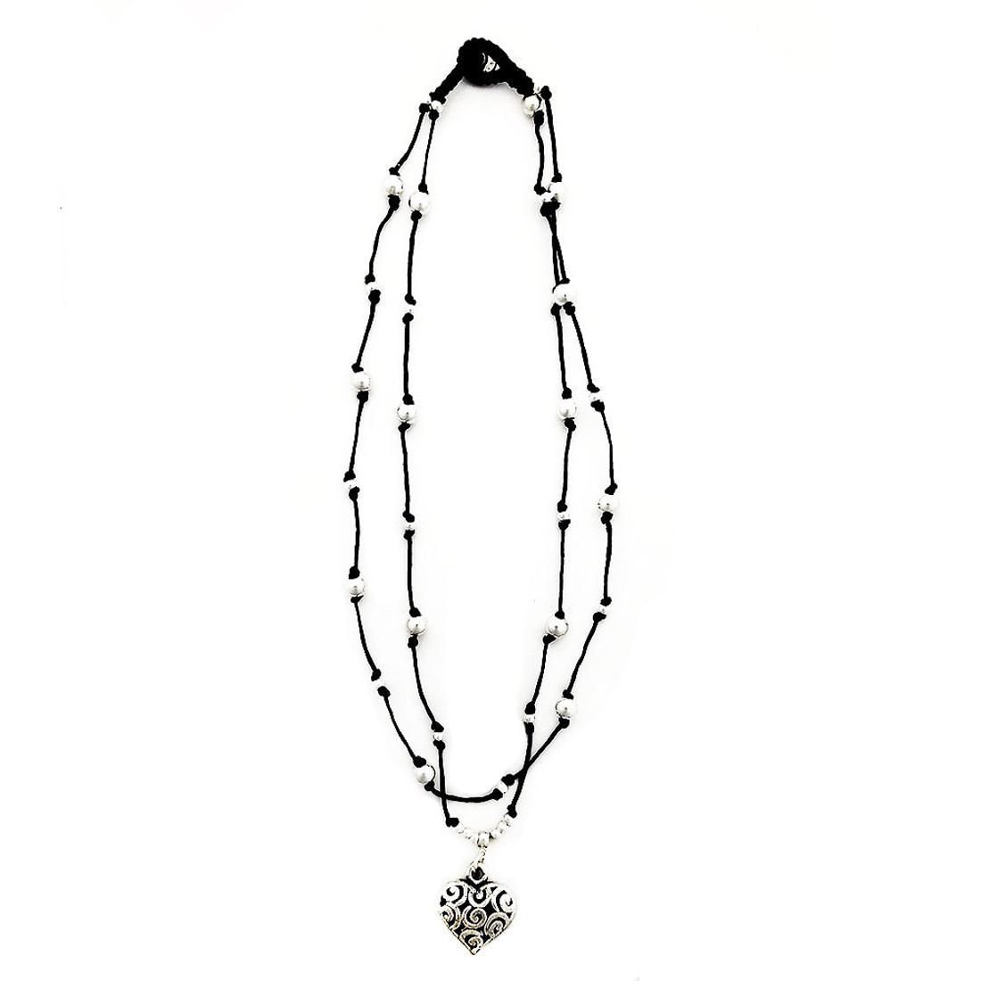 Puffed heart alloy beaded choker necklace.