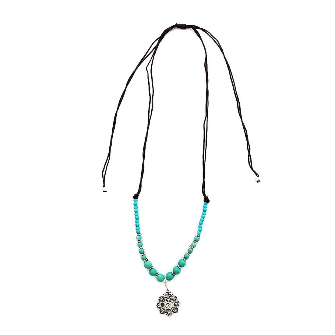 Mandala alloy and turquoise Howlite beaded necklace.