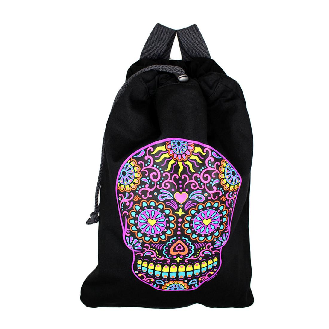 Colorful bright sugar skull  backpack purse.