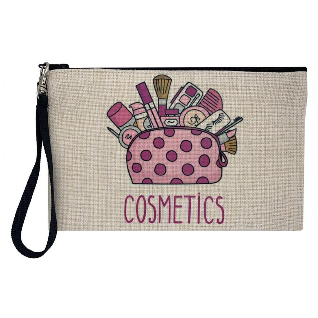 Girly and Pink Linen Cosmetic Makeup Bag