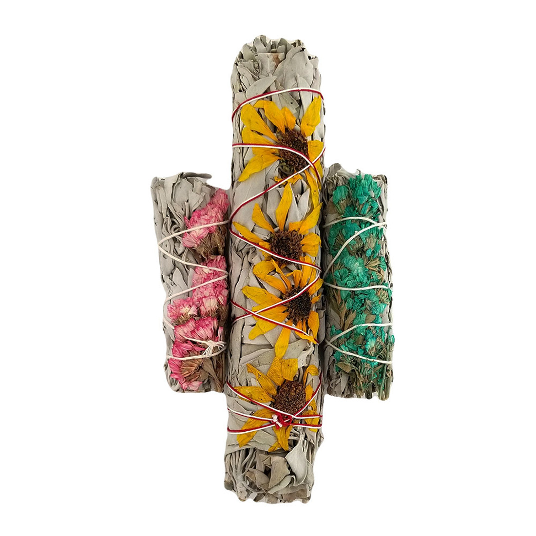 Large sunflower white sage wand with a pink and turquoise flowered sage wands.