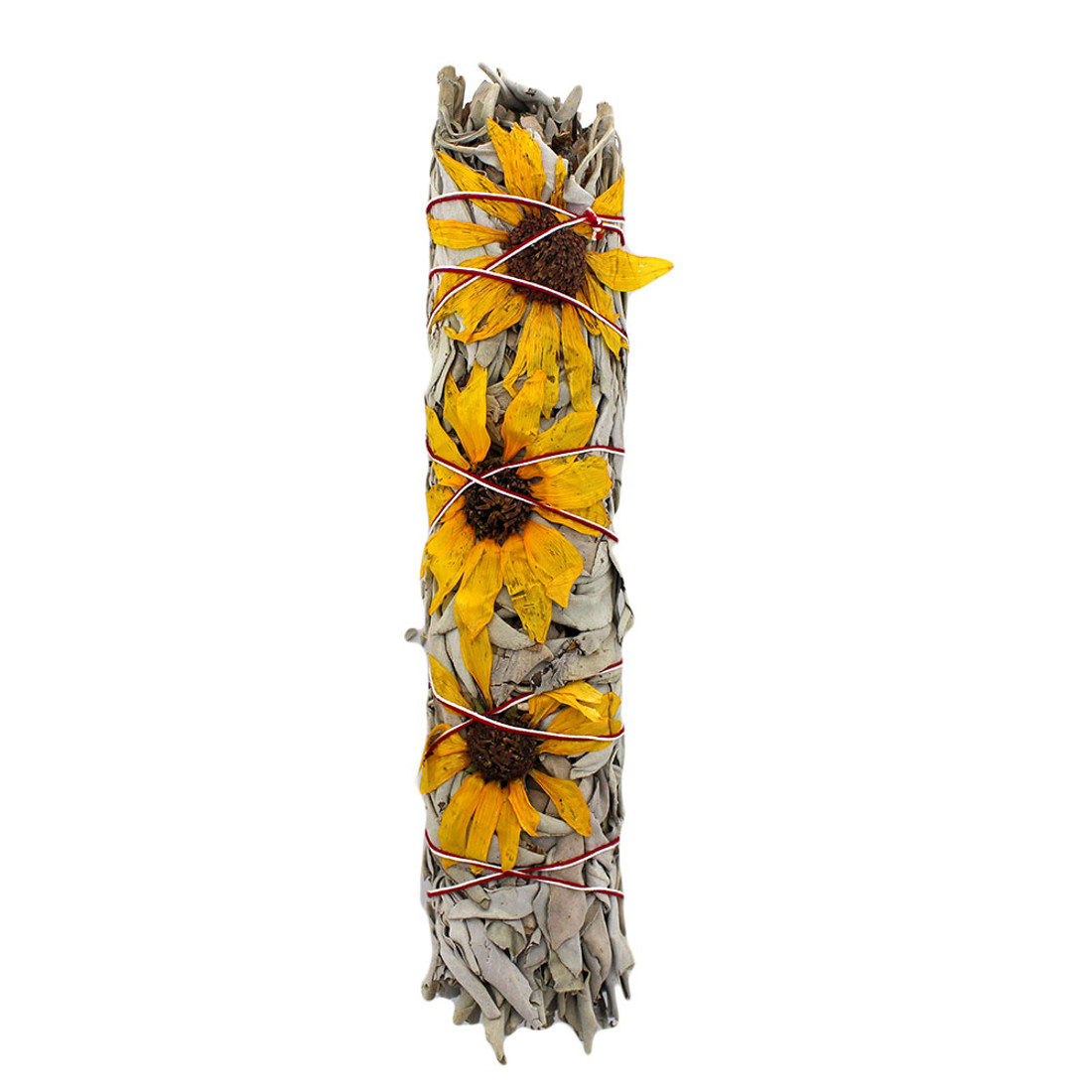 Large California white sage with sunflowers smudge stick.