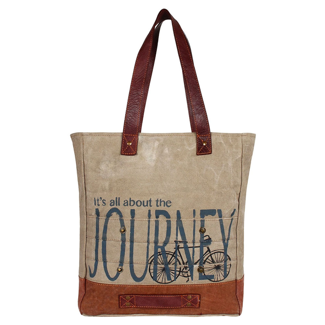 All About The Journey Up-Cycled Canvas Tote Bag