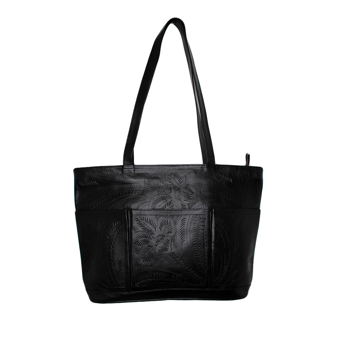 Large black handmade tote purse by Leaders in Leather.