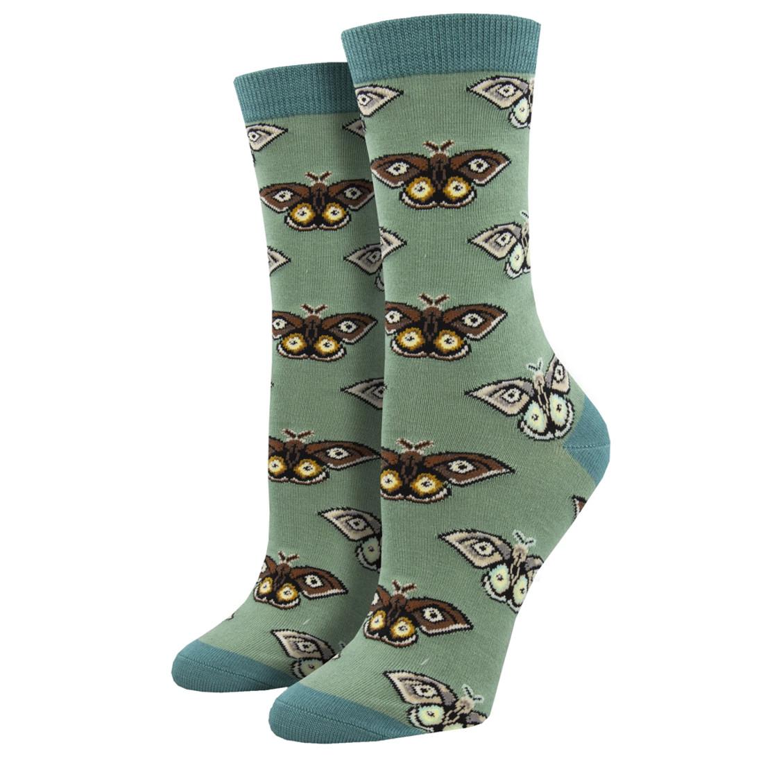 Vintage Moths Women's Bamboo Crew Socks