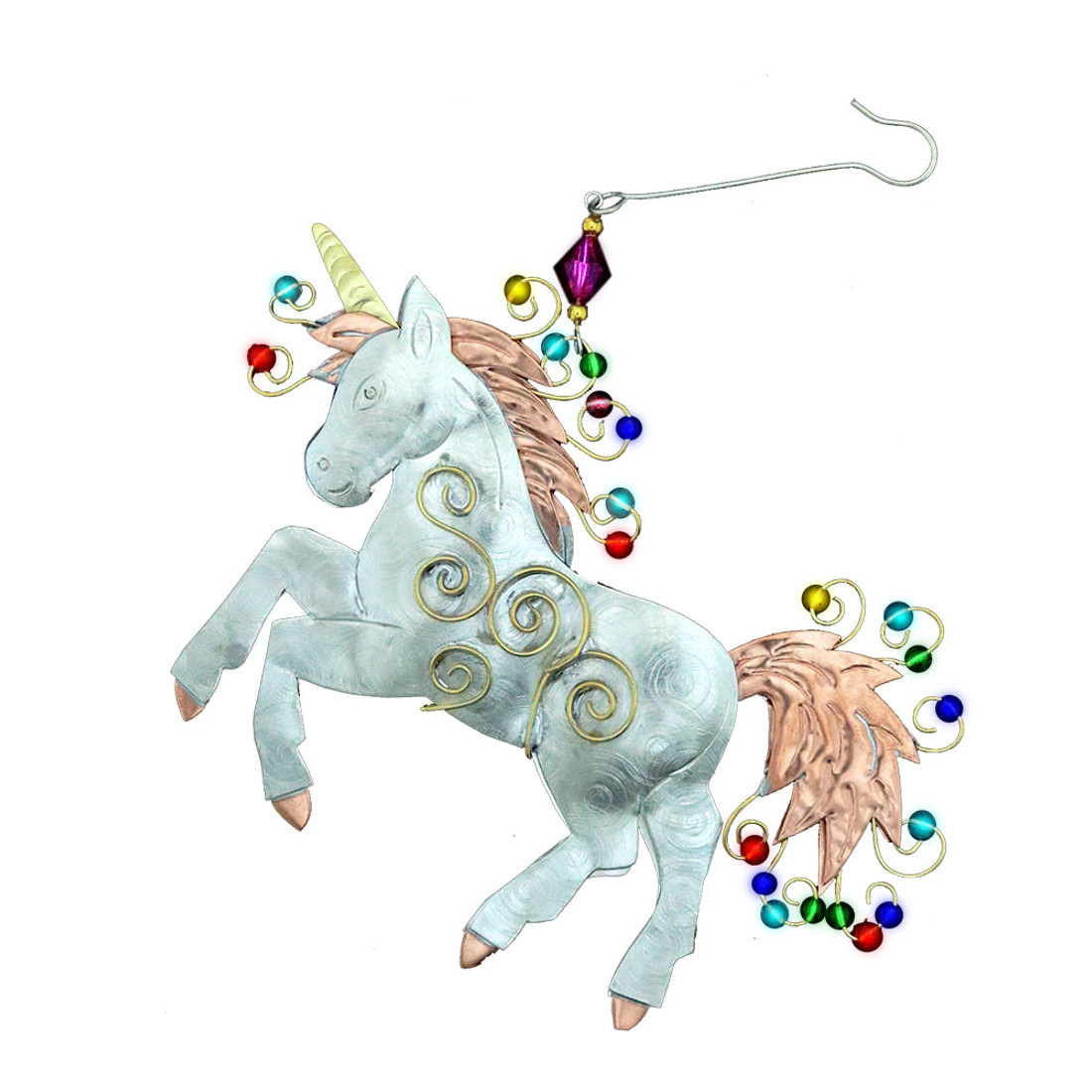Unicorn metal Christmas ornament.