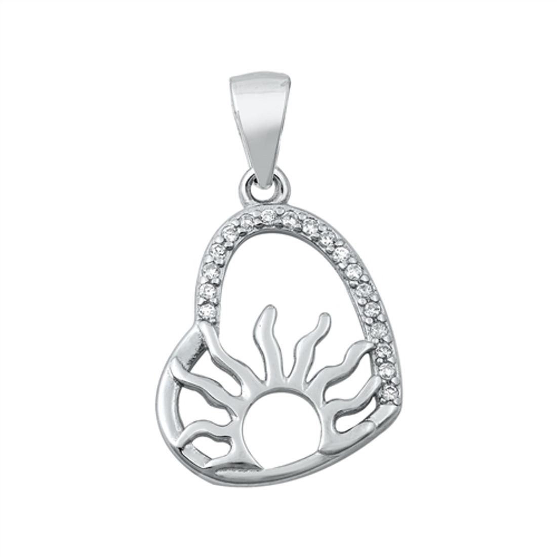 Sun inside CZ heart sterling silver pendant.