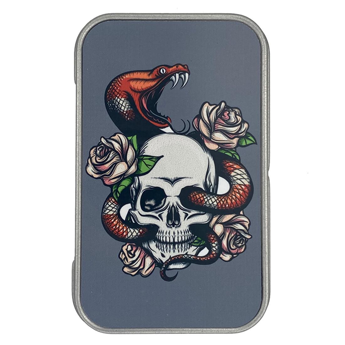 Skull and Snake Metal Tin Box