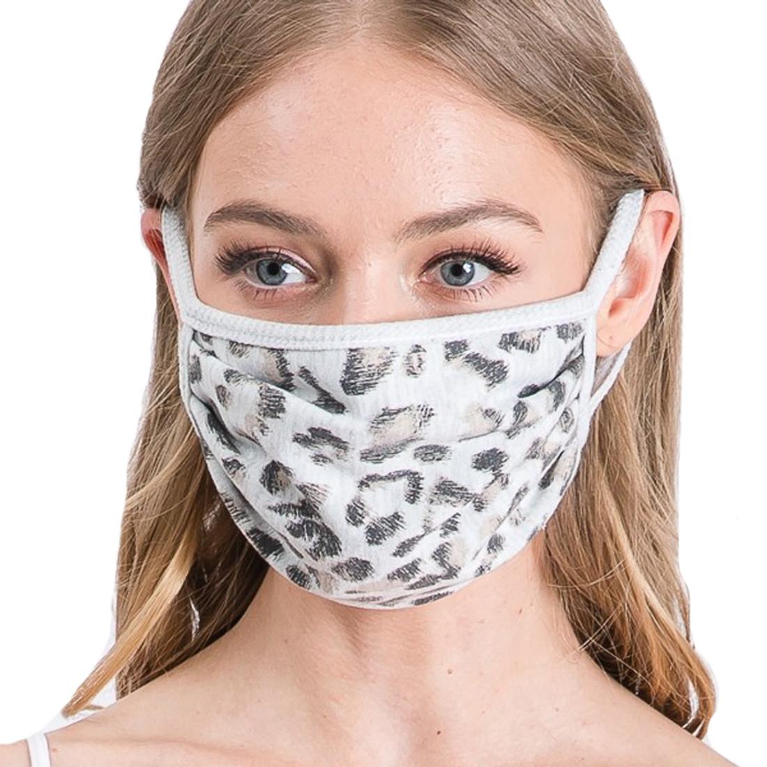 Light Gray Leopard Animal Print Face Mask