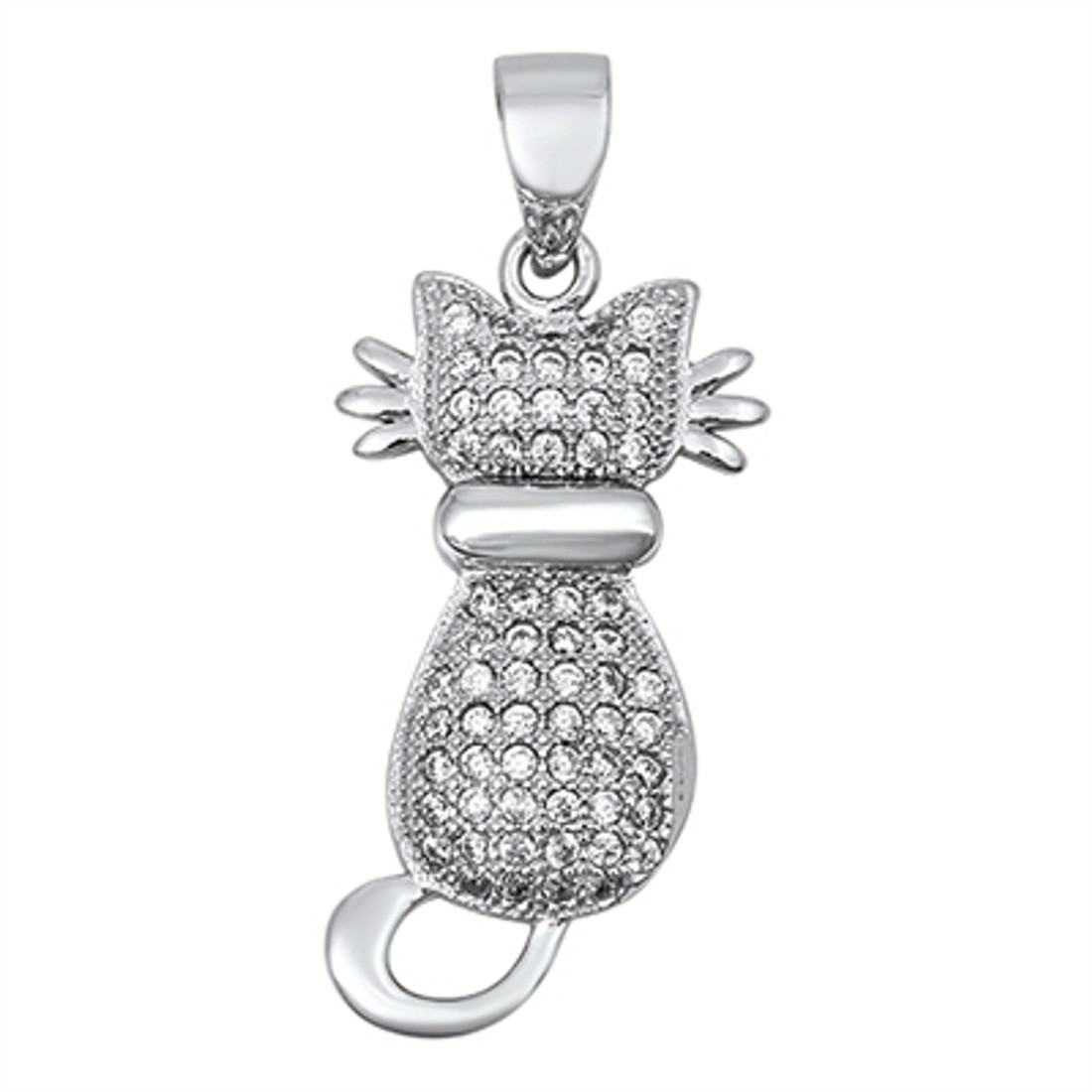 Kitty cat with clear CZ sterling silver pendant.