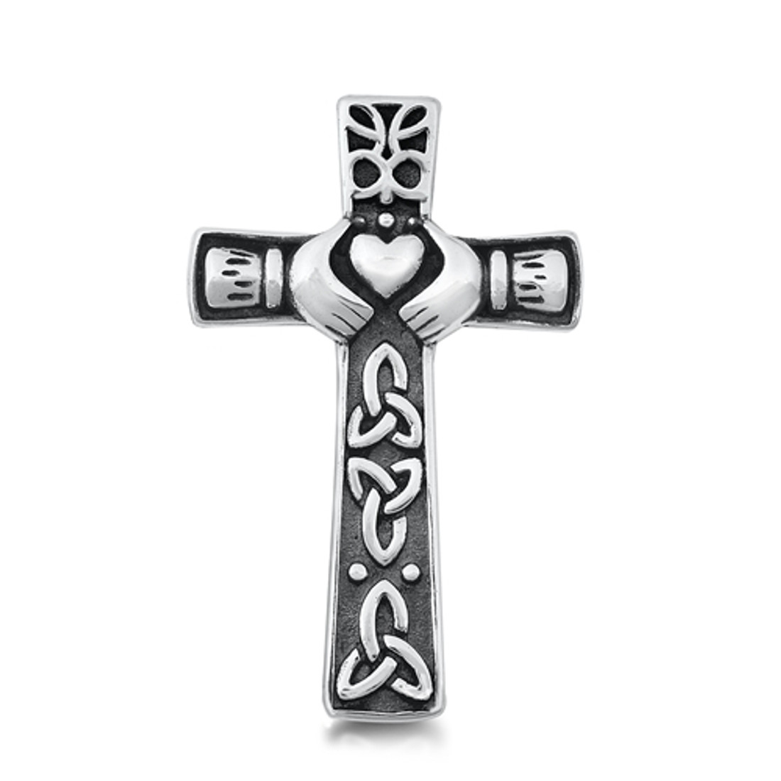 Sterling silver Claddagh cross pendant.