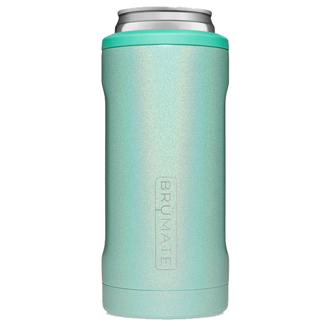 BruMate Hopsulator Slim Can Cooler Glitter Aqua