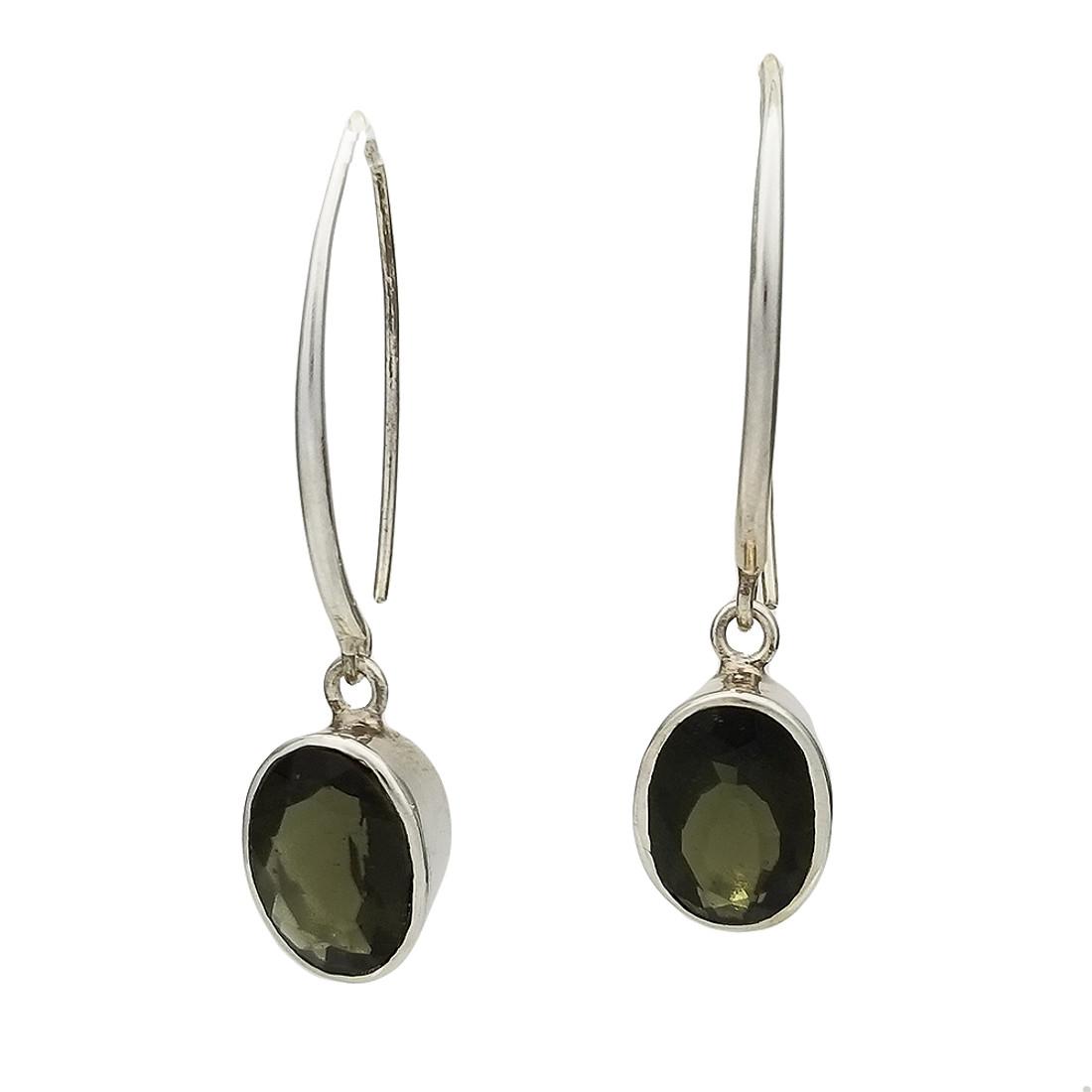 Faceted high quality Moldavite dangle sterling silver earrings.