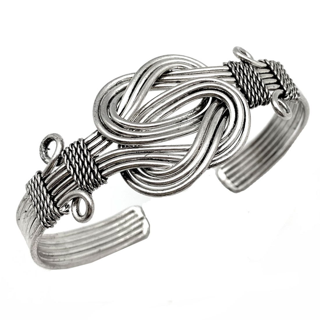 Infinity Knot Silver Plated Adjustable Cuff Bracelet