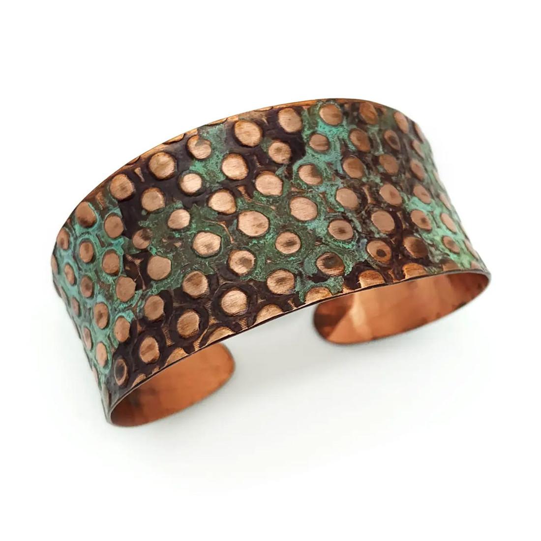 Copper and Teal Rivets Cuff Bracelet