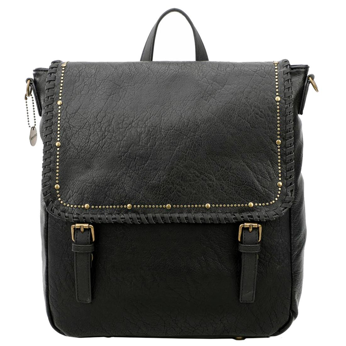 Vegan Leather Carolina Black Backpack Purse