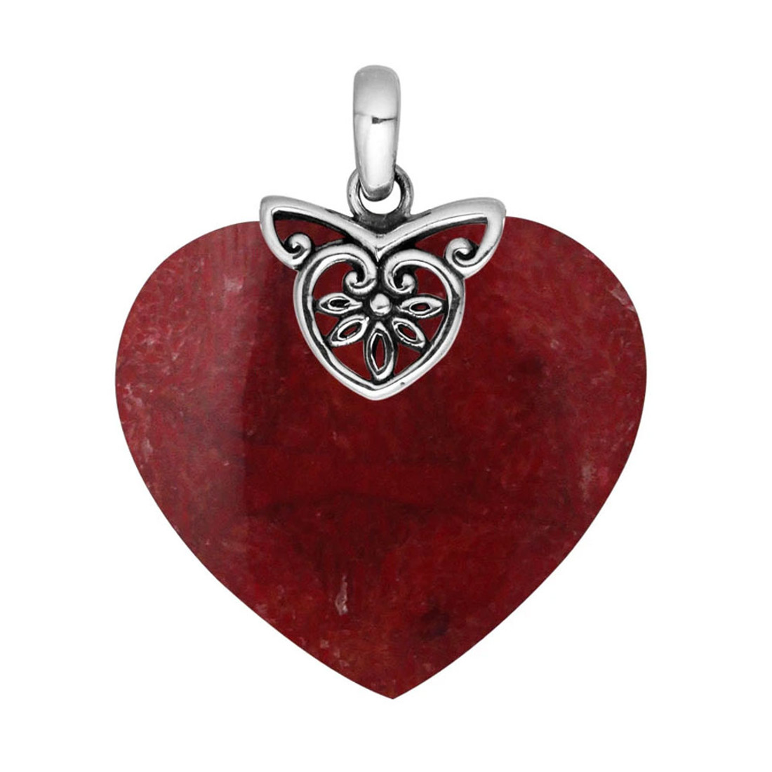 Red Coral Heart Shaped Pendant