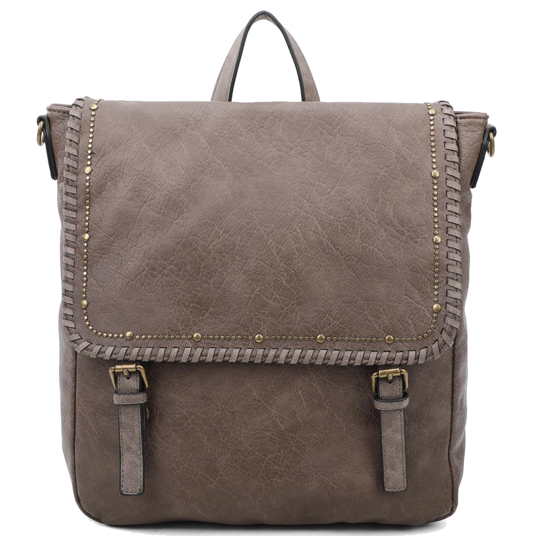 Vegan Leather Taupe Backpack Purse