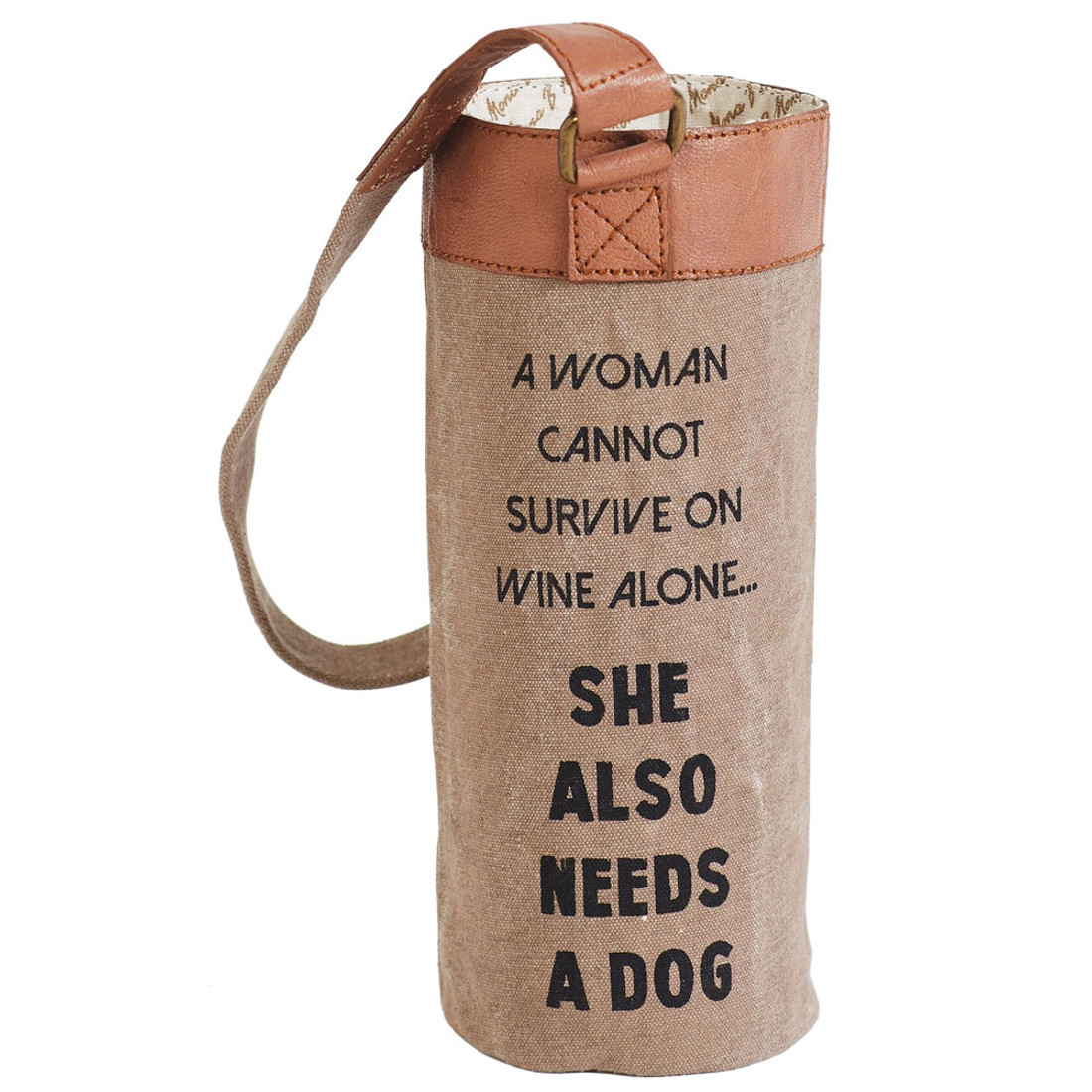 A Girl And Her Dog Up-Cycled Canvas Wine Bag Carrier