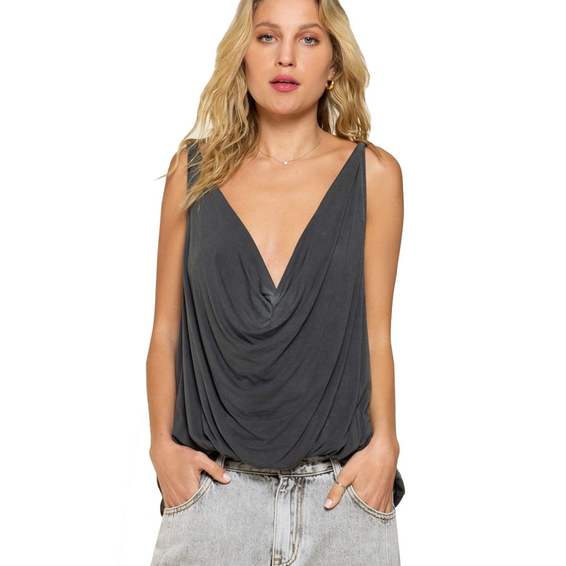 POL Clothing Plunging Twist Tank Top