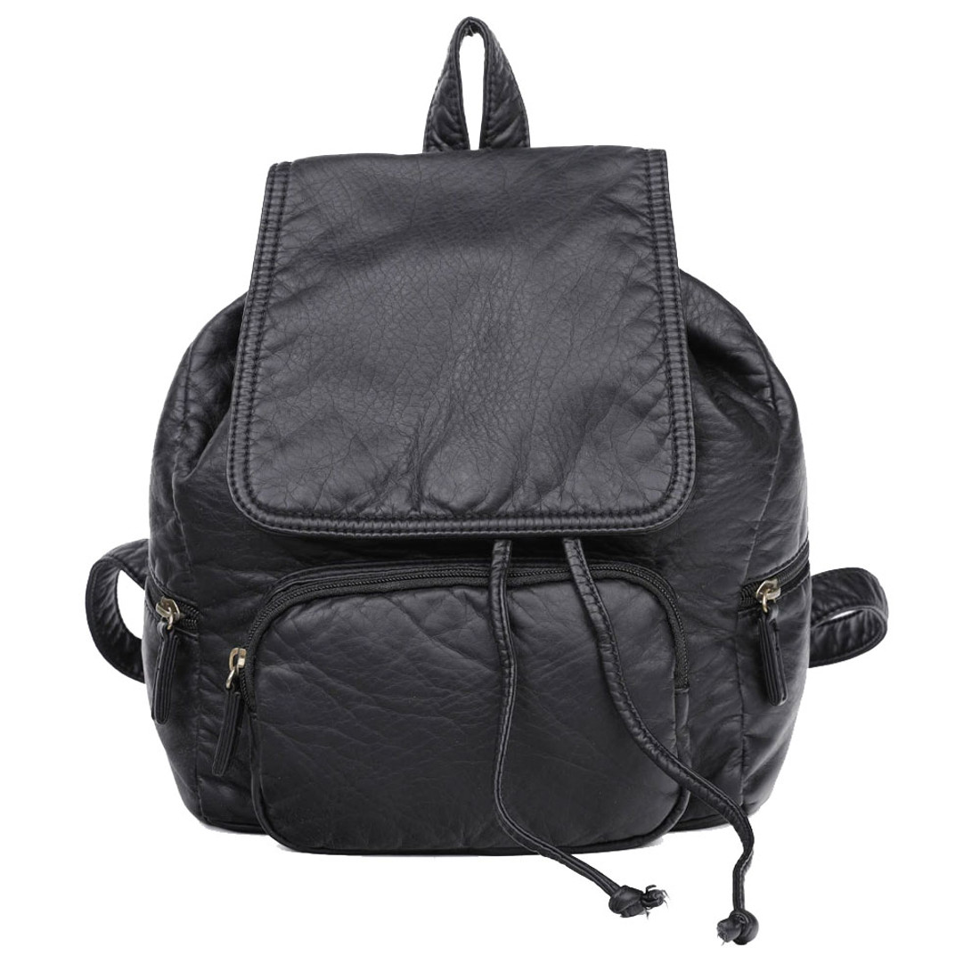 Vegan Leather Black Backpack Purse