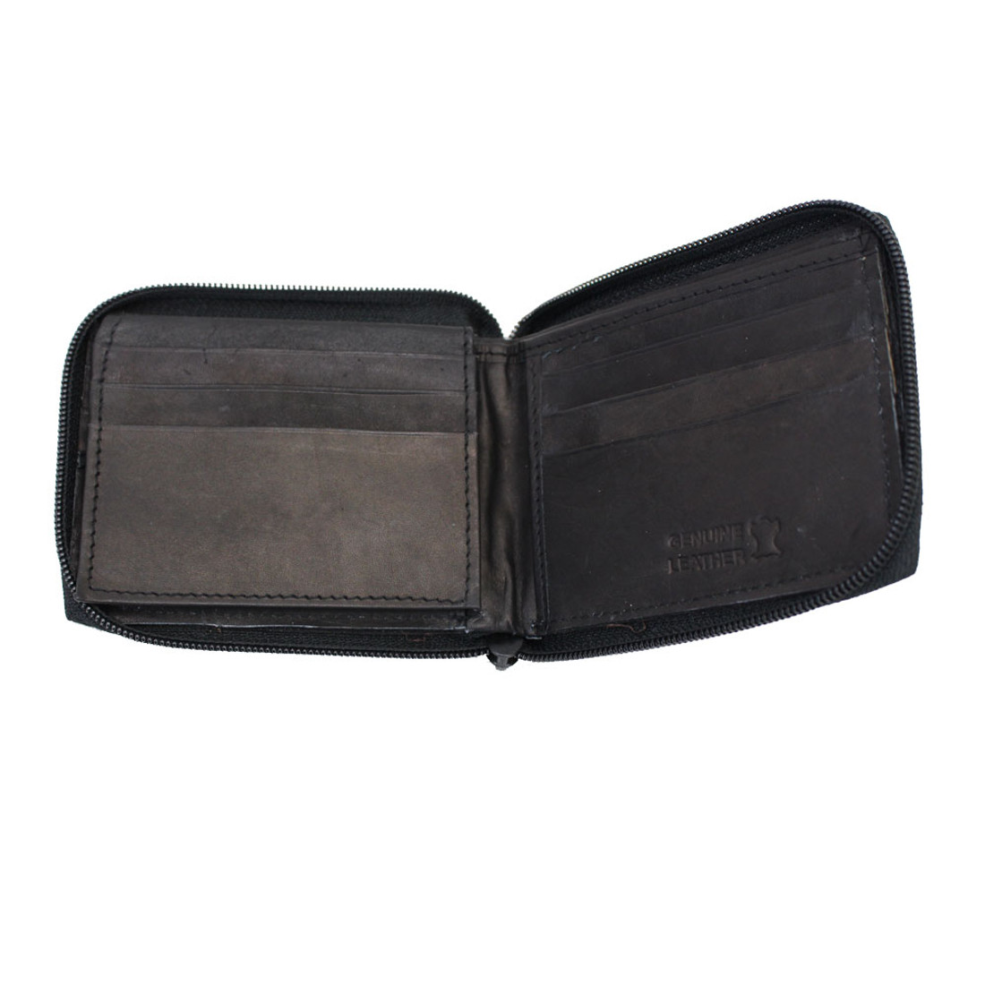 Unisex  Bi-Fold Zip Around Genuine Black Leather Wallet Plain Simple