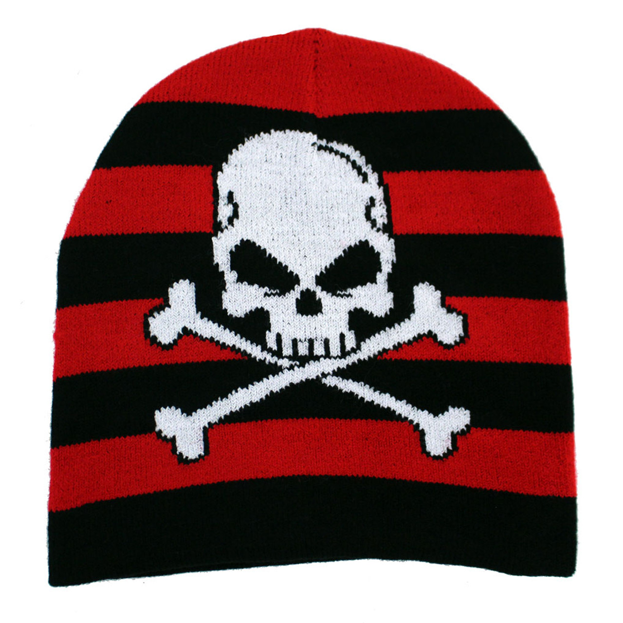 b5e2141e3475 Skull   Crossbones Black Red Striped Beanie Knit Hat - Purple ...