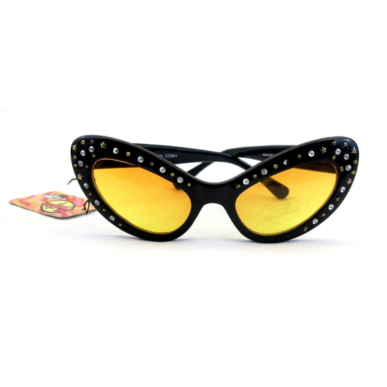 1871d008dbb Cat Eye Black Costume Party Eye Glasses Rhinestone Edge - Purple Leopard  Boutique