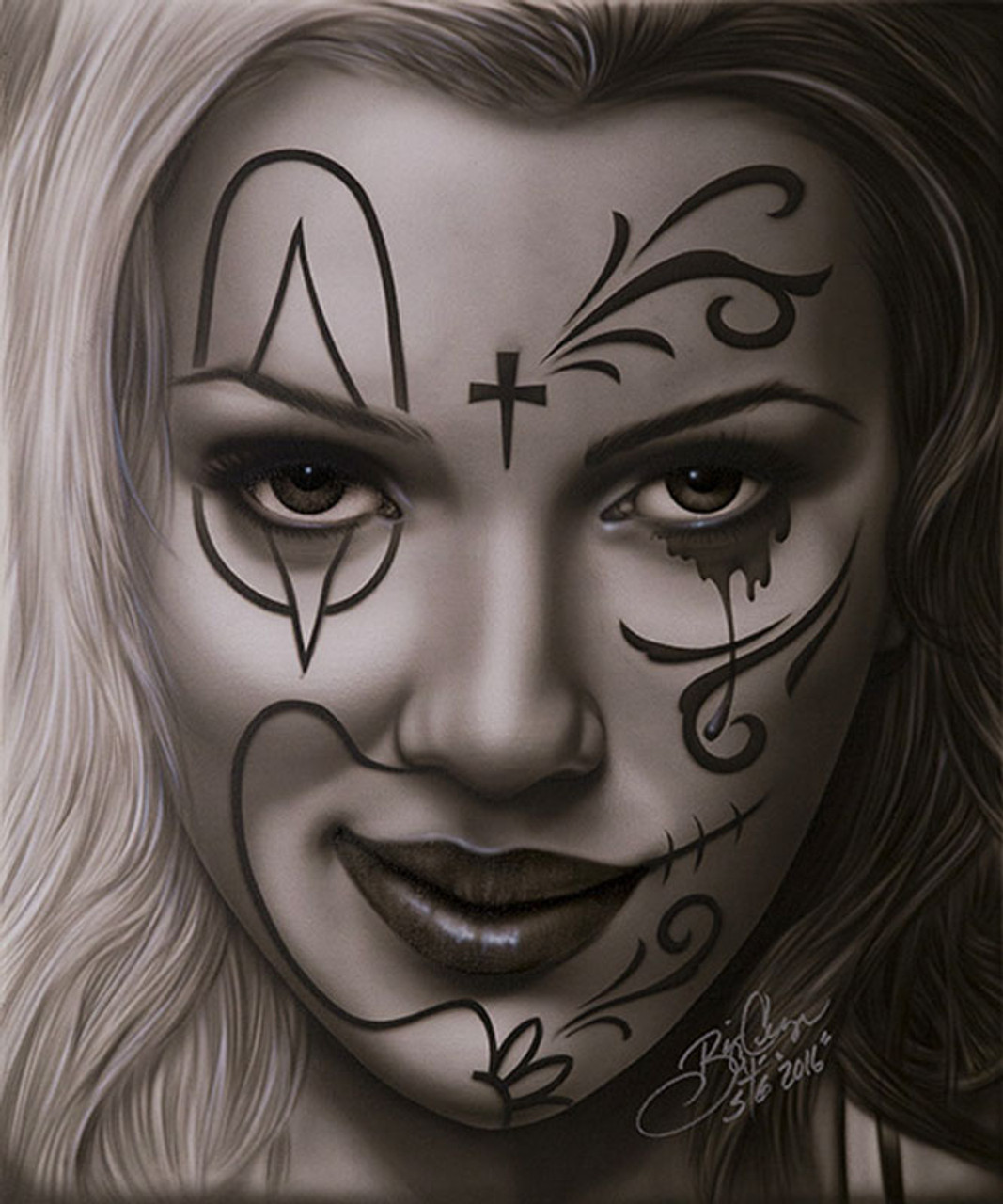 Delightful Deception By Big Ceeze Canvas Giclee Art Print Sexy Woman Sugar Skull Purple Leopard Boutique