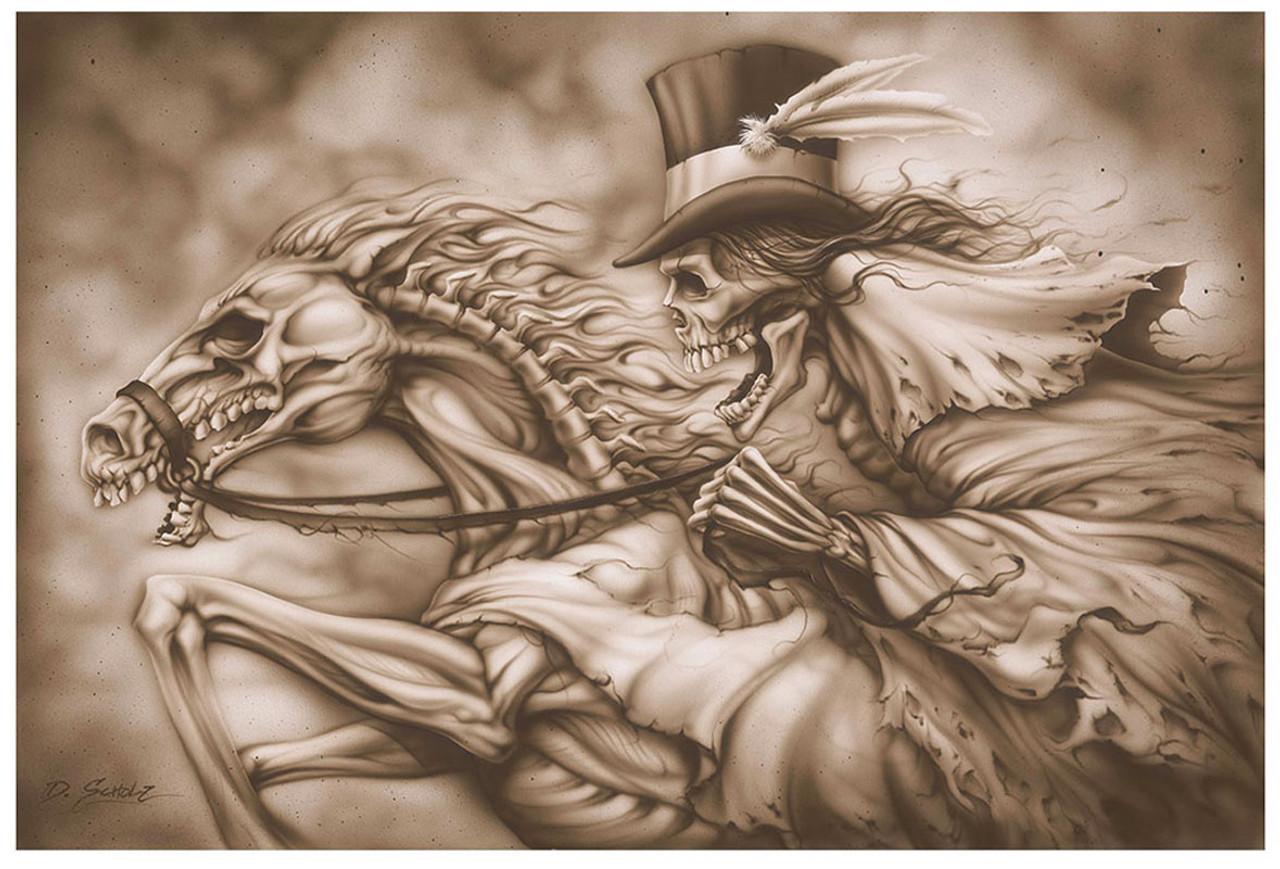 Ghost Rider Skull Horse Skeleton By Dan Scholz Tattoo Fine Art Print Purple Leopard Boutique
