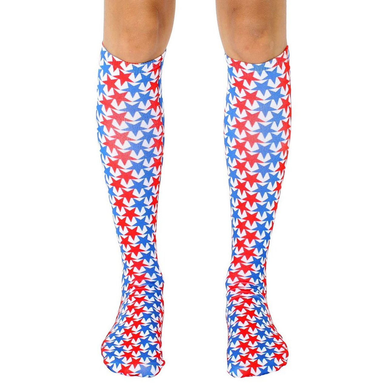 430b294e0f7 Men s or Women s Knee High Socks USA Stars Red White and Blue - Purple  Leopard Boutique