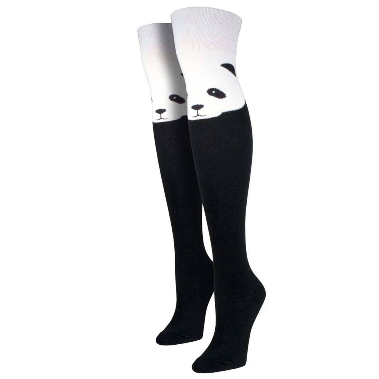 7bd7e7d8542 Women s Over The Knee Socks Panda Bear Face Black - Purple Leopard Boutique