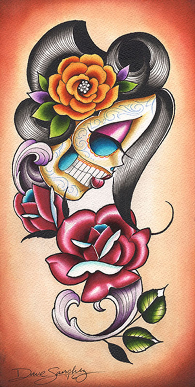 Love Street by Dave Sanchez Tattoo Art Print Day of the Dead Sugar Skull Couple