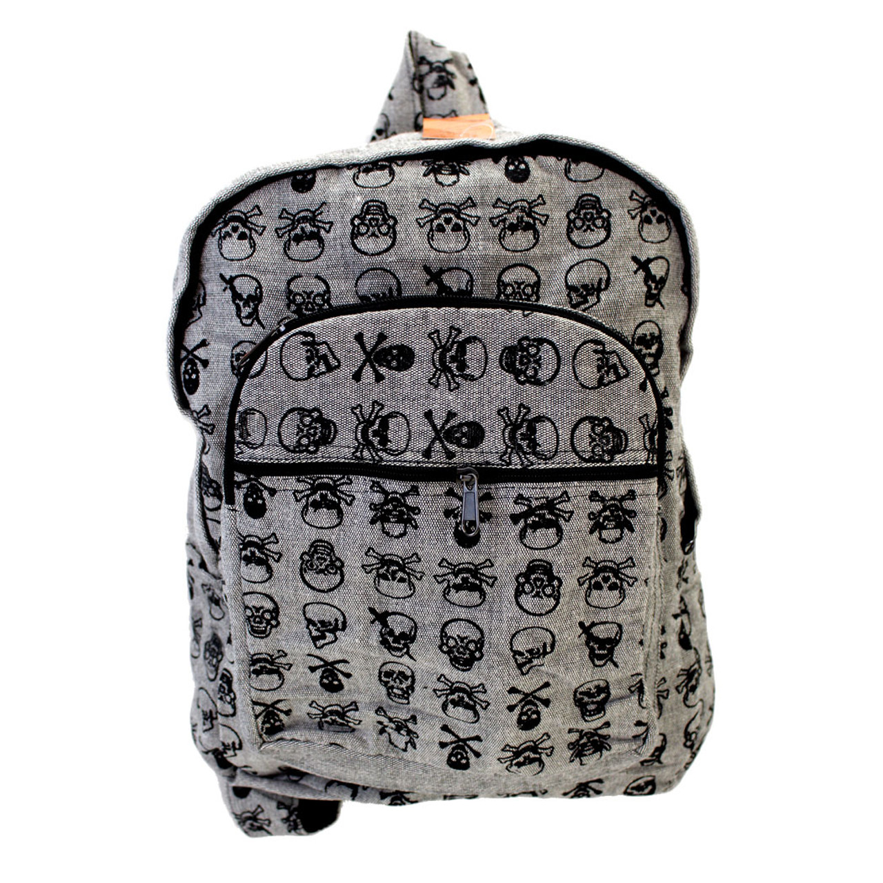 Gray Cotton Skull And Crossbones Backpack Purple Leopard Boutique