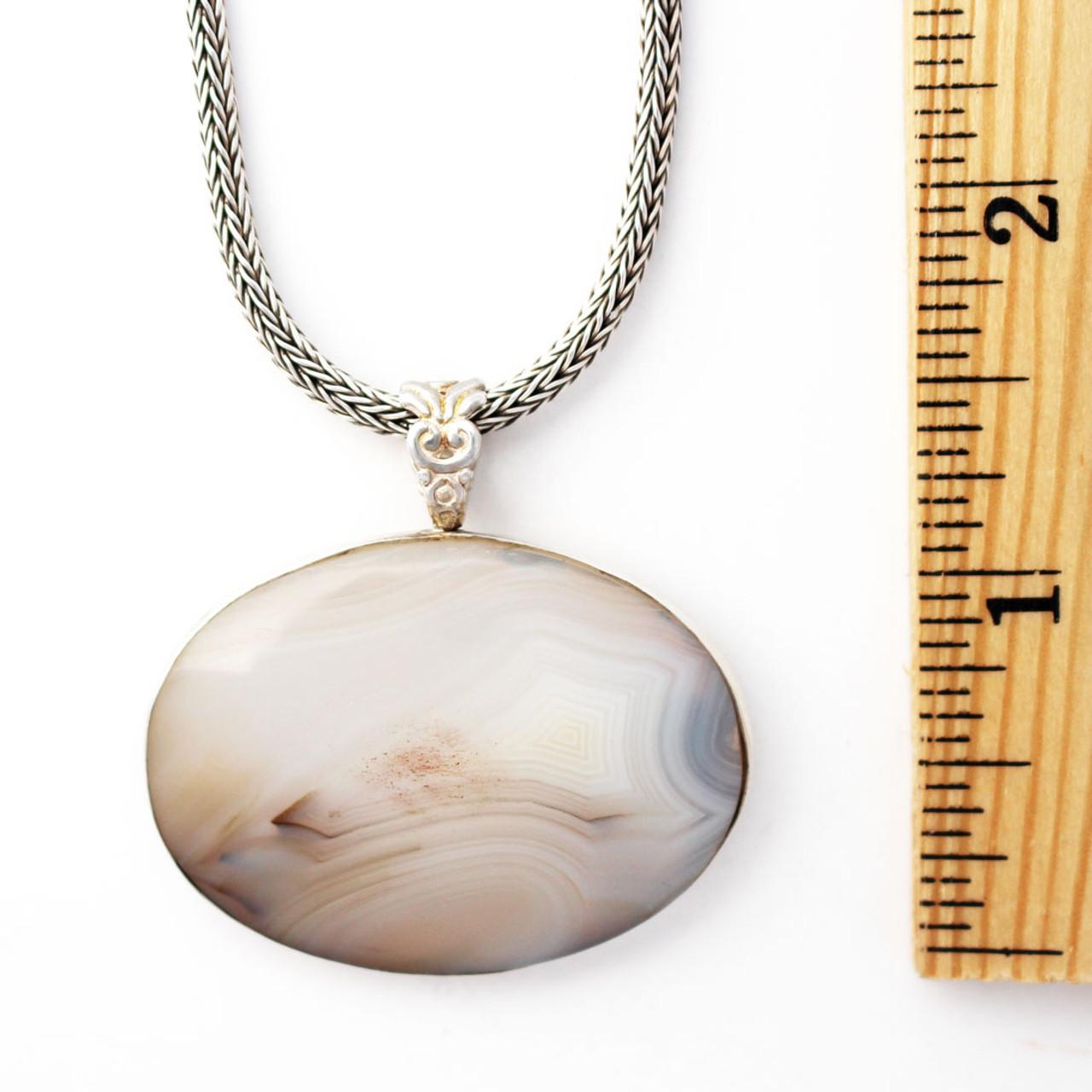 e9dedac2367a8 Handmade Oval White Agate Pendant Sterling Silver