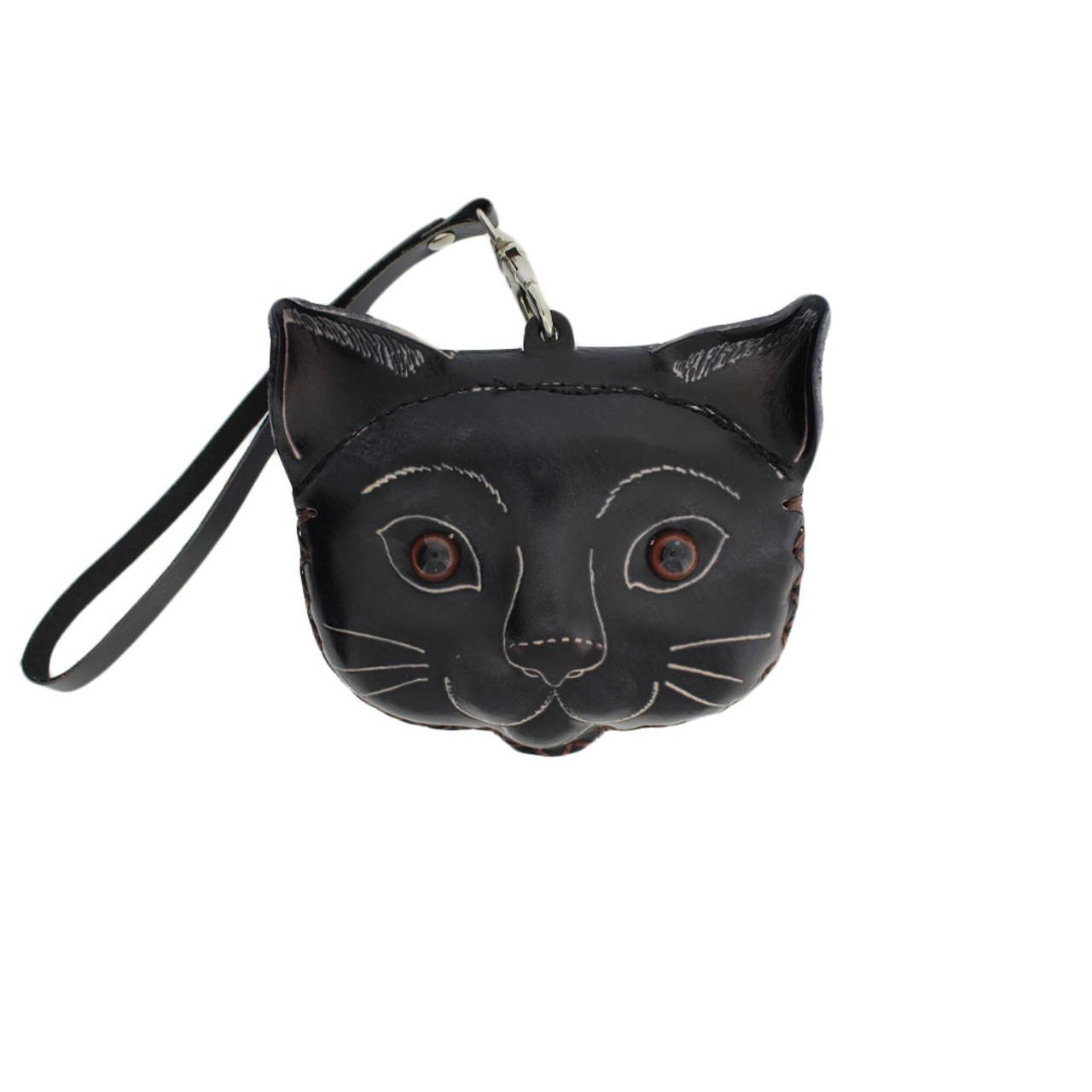 85a1526bfb1 Black Leather Cat Wristlet Coin Purse with Strap - Purple Leopard Boutique