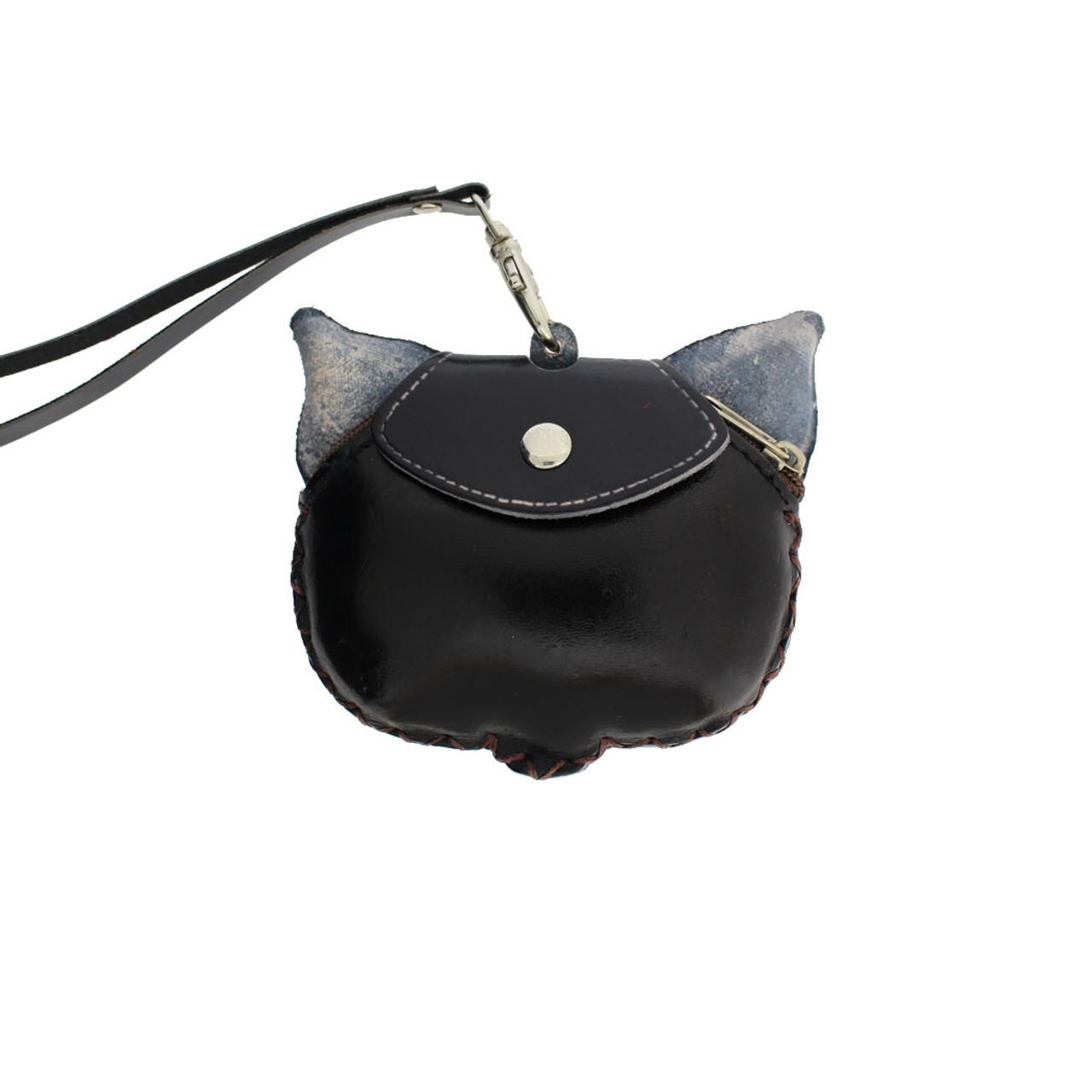 90181032d93 Black Leather Cat Wristlet Coin Purse with Strap - Purple Leopard ...