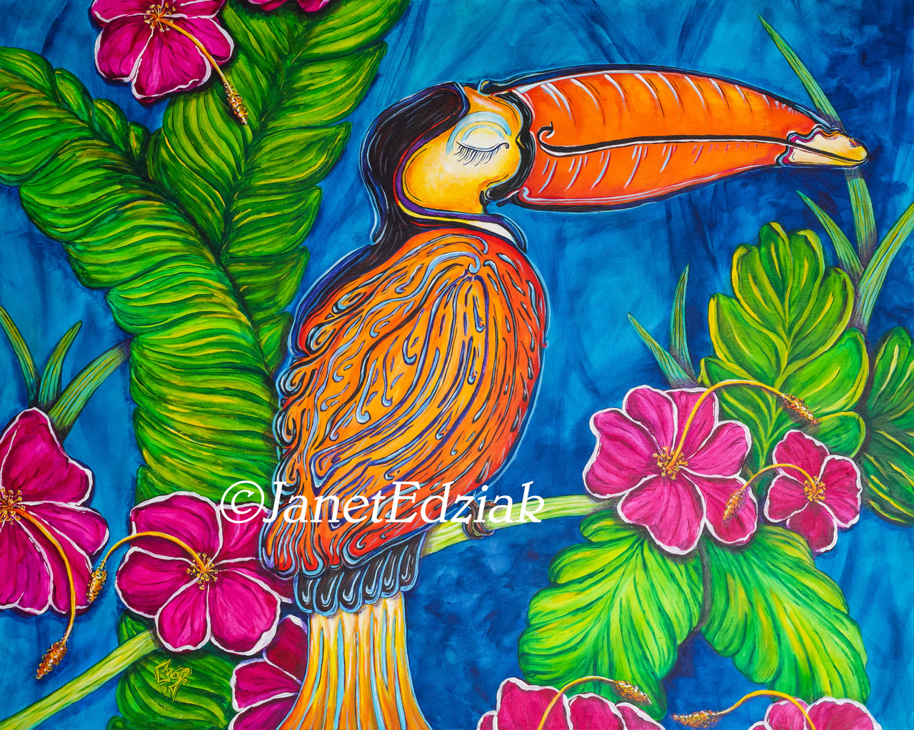 Polycotton Fabric Toucan Jungle Tropical Animal