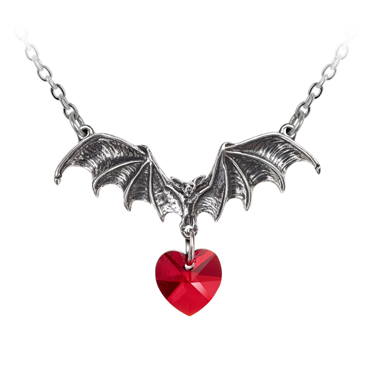 Alchemy Gothic Vampire Love Heart Pendant Necklace Pewter Jewelry