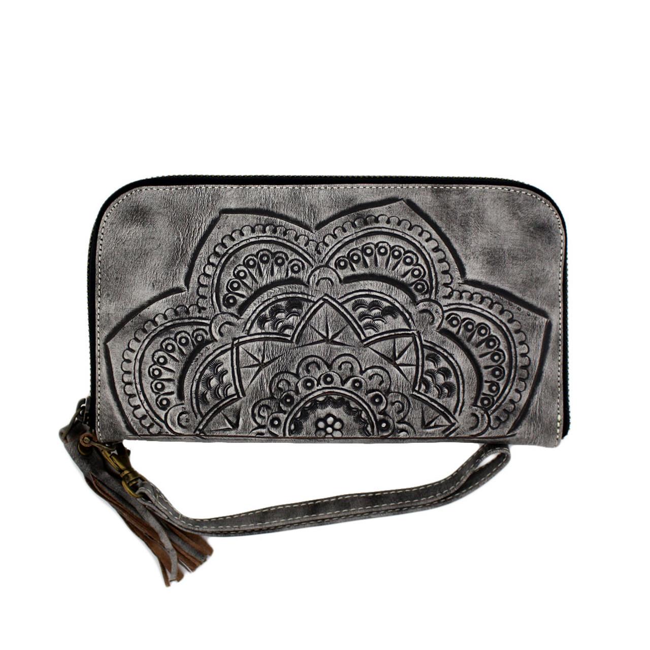 5fc8e5725027 Women's Genuine Leather Mandala Zip Around Wallet Wristlet